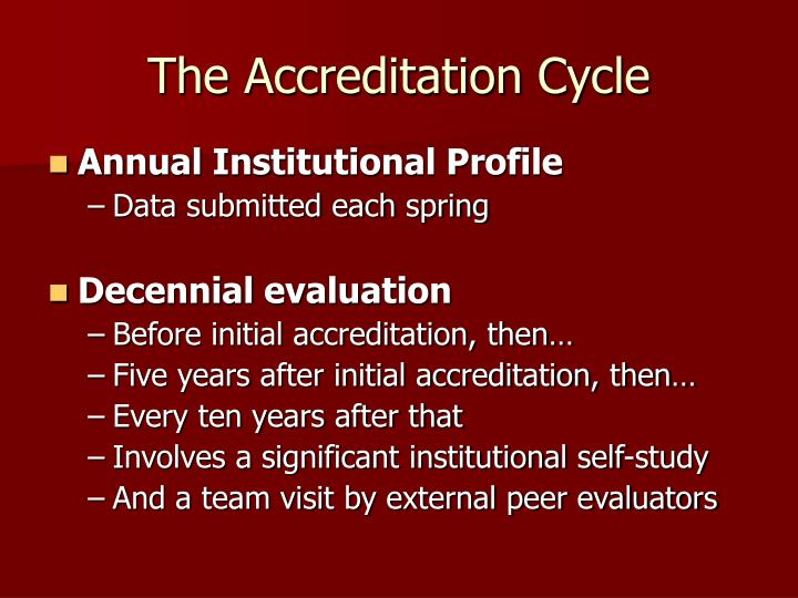 The accreditation cycle