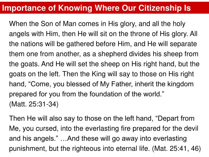 Importance of Knowing Where Our Citizenship Is