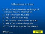 milestones in time