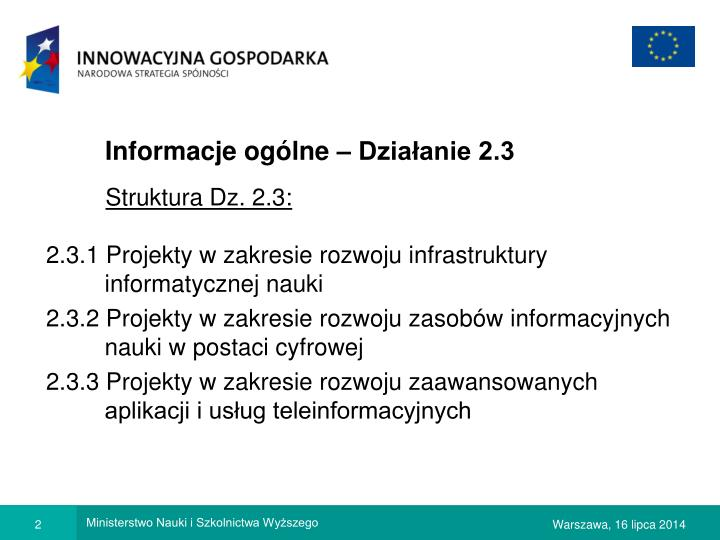 Informacje ogólne – Działanie 2.3