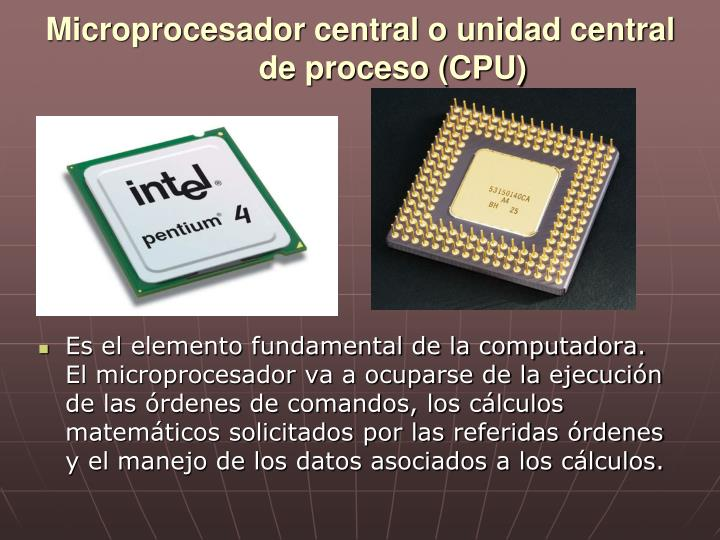Microprocesador central o unidad central de proceso (CPU)