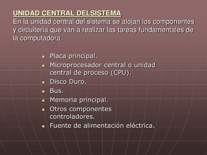 UNIDAD CENTRAL DELSISTEMA