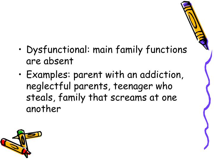 Dysfunctional: main family functions are absent
