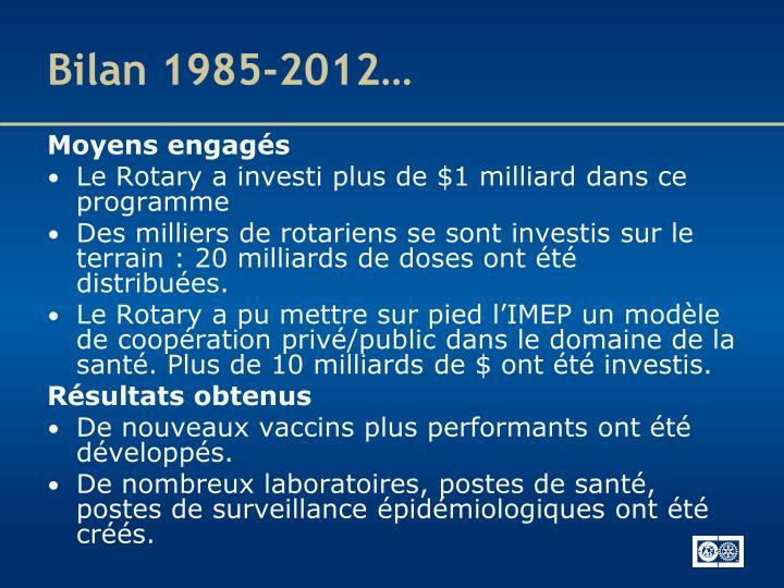 Bilan 1985-2012…