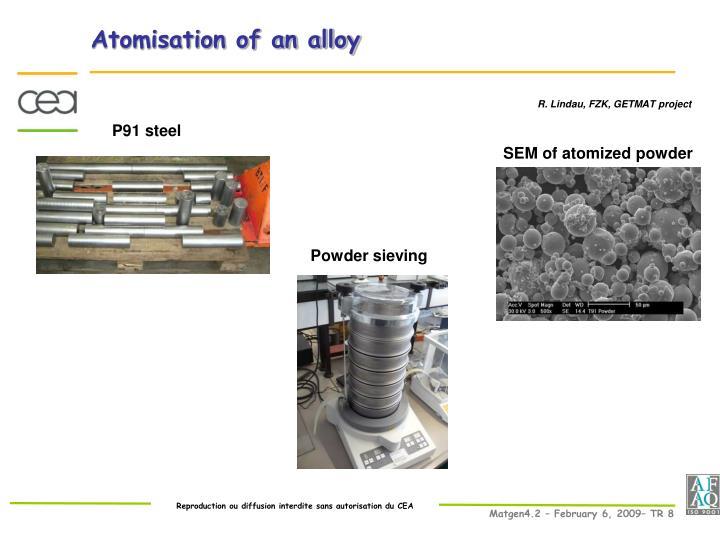 Atomisation of an alloy