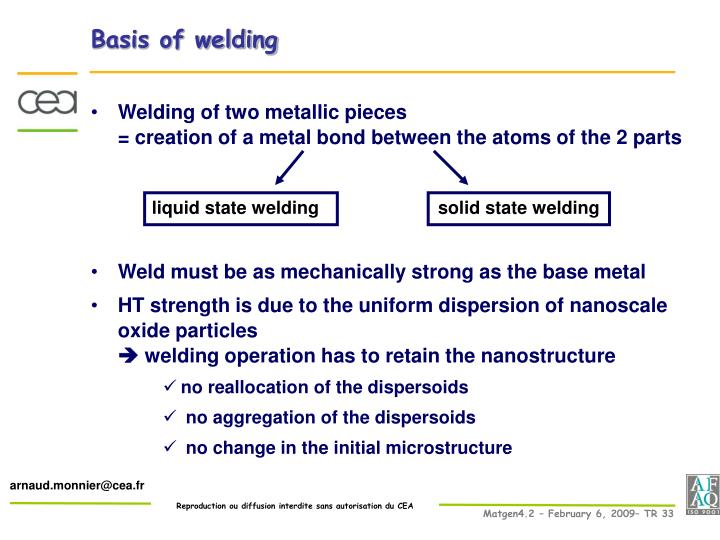 Basis of welding