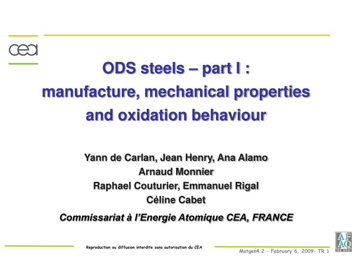 ods steels part i manufacture mechanical properties and oxidation behaviour