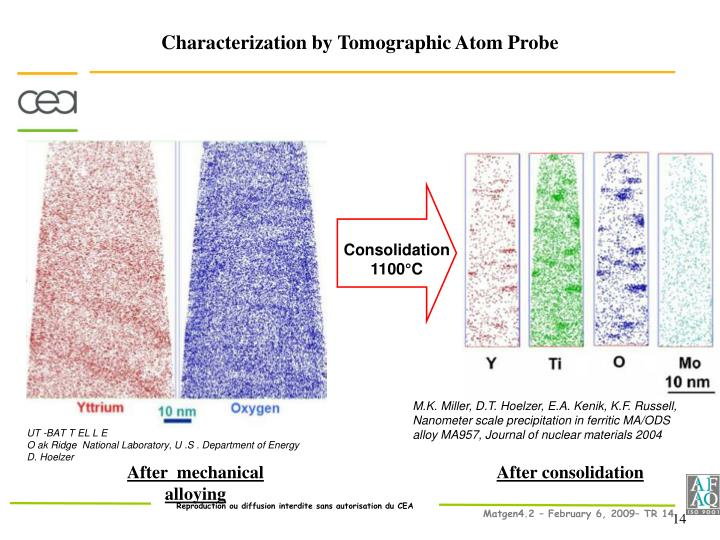 Characterization by Tomographic Atom Probe
