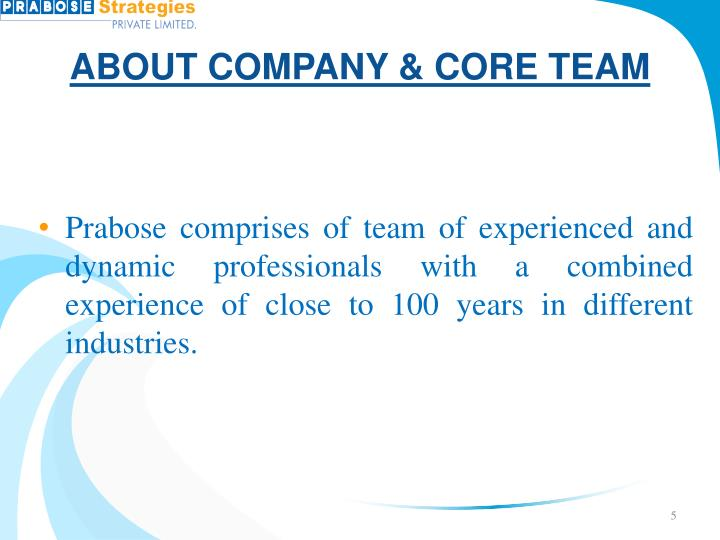 ABOUT COMPANY & CORE TEAM
