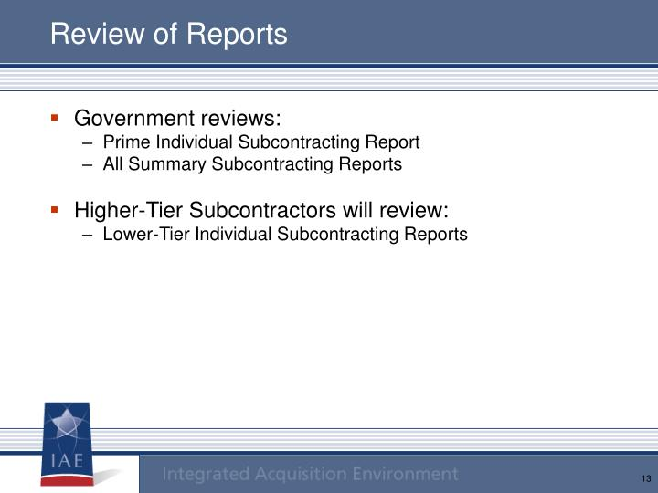 Review of Reports
