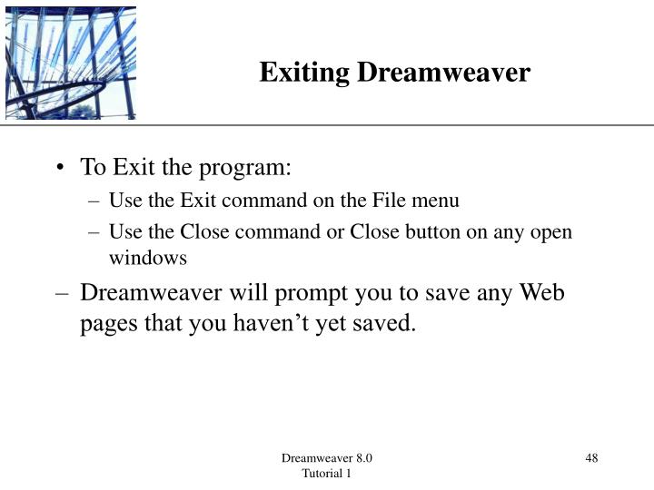 Exiting Dreamweaver