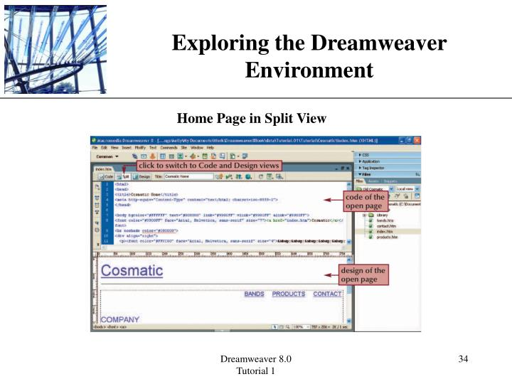 Exploring the Dreamweaver Environment