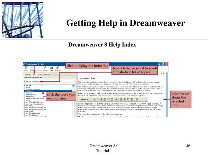 Getting Help in Dreamweaver