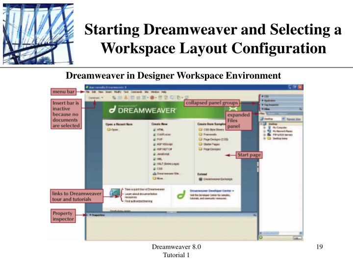 Starting Dreamweaver and Selecting a Workspace Layout Configuration