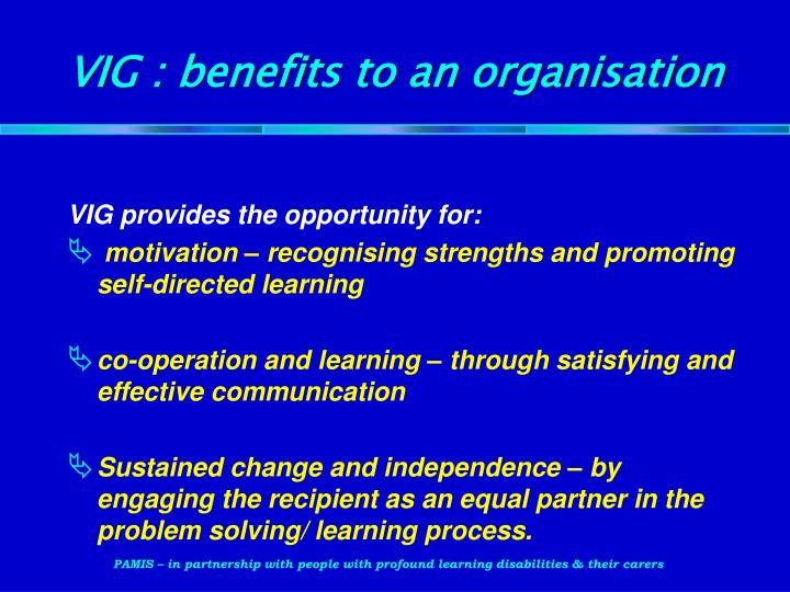 VIG : benefits to an organisation
