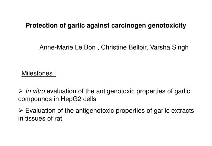 Protection of garlic against carcinogen genotoxicity