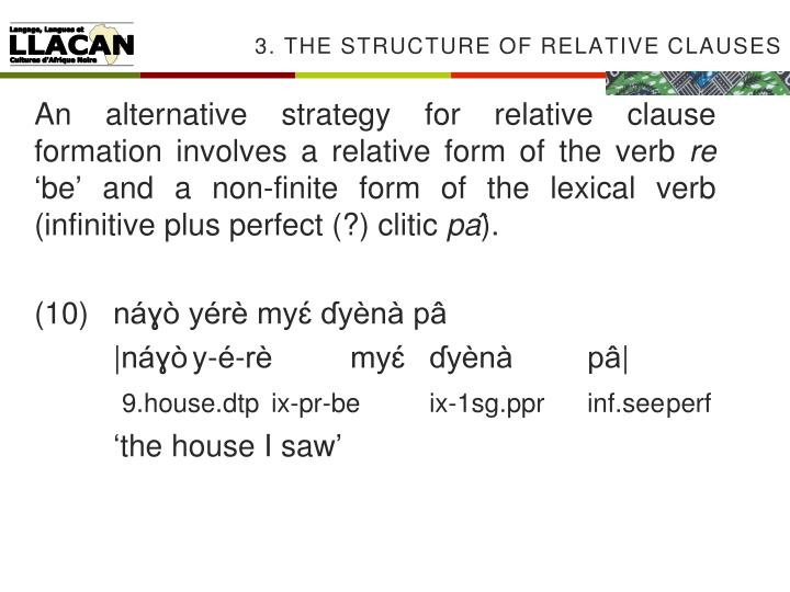 3. The structure of Relative clauses