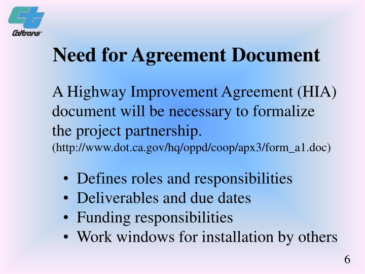 Need for Agreement Document