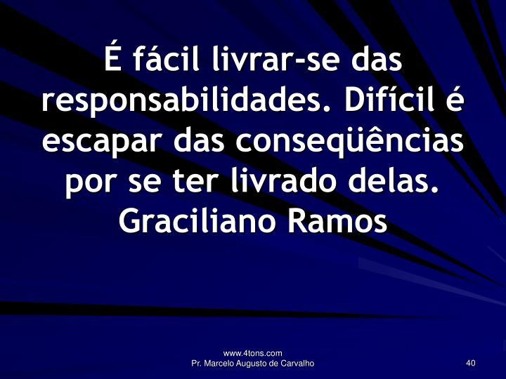 É fácil livrar-se das responsabilidades. Difícil é escapar das conseqüências por se ter livrado delas.