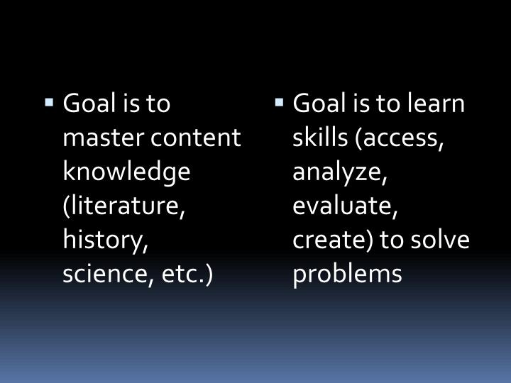 Goal is to master content knowledge (literature, history, science, etc.)