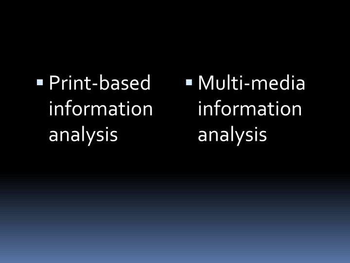 Print-based information analysis