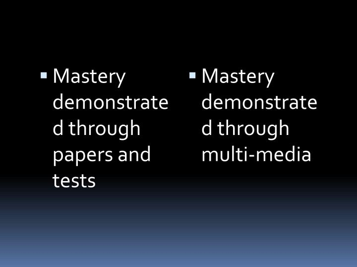 Mastery demonstrated through papers and tests