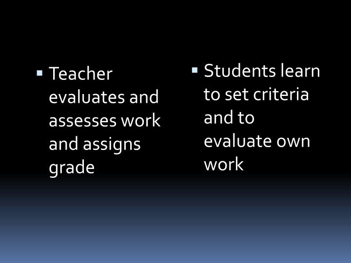 Teacher evaluates and assesses work and assigns grade