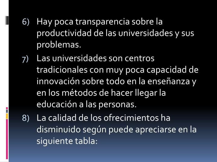 Hay poca transparencia sobre la productividad de las universidades y sus problemas.