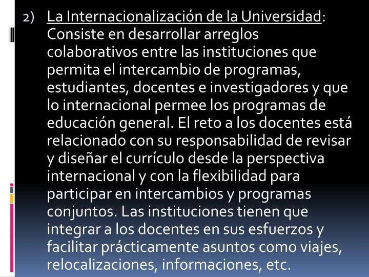 La Internacionalización de la Universidad