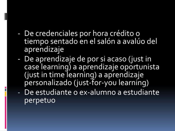 -De credenciales por hora crédito o tiempo sentado en el salón a avalúo del aprendizaje
