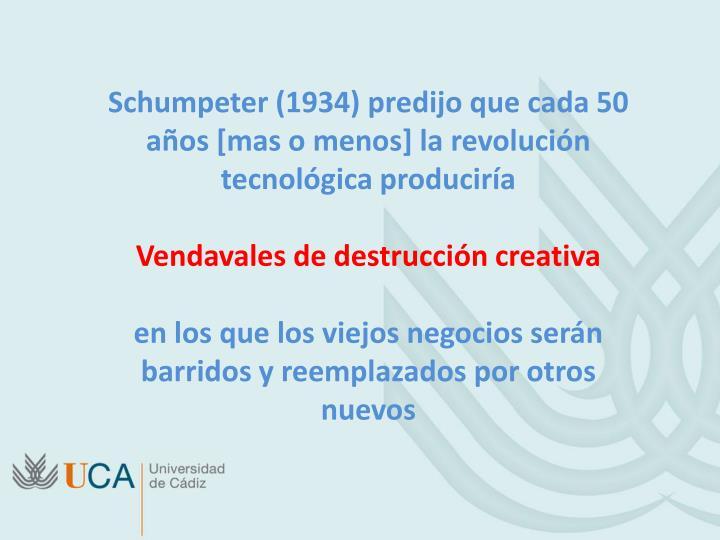 Schumpeter (1934) predijo que cada 50 años [mas o menos] la revolución tecnológica produciría