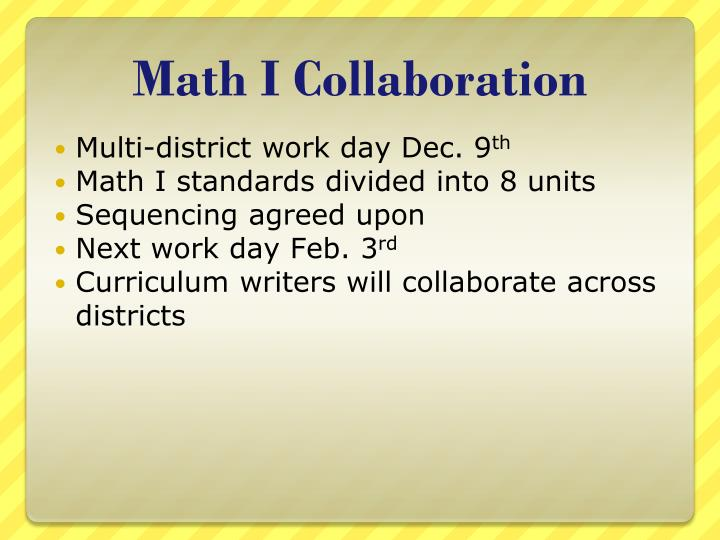 Math I Collaboration