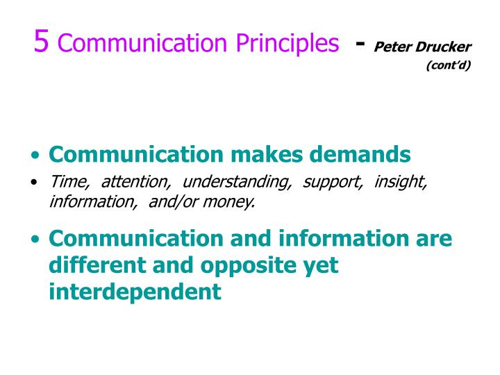 5 communication principles peter drucker cont d