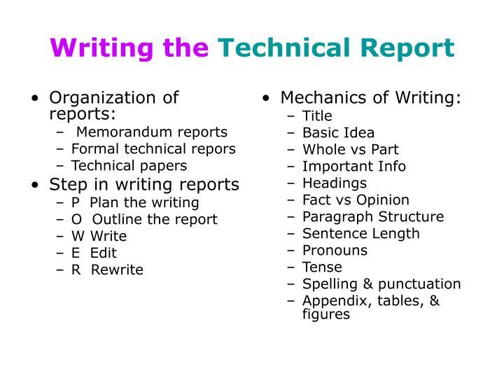 Organization of reports: