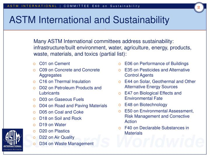 Astm international and sustainability