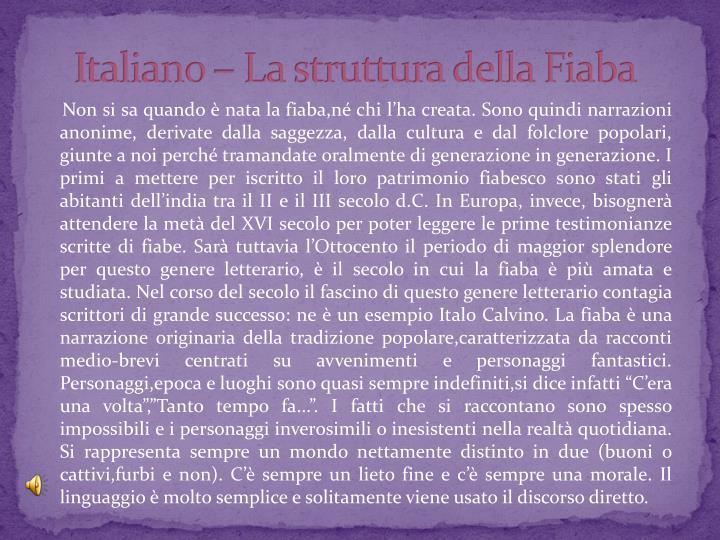 Italiano – La struttura della Fiaba