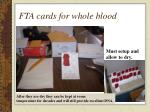 fta cards for whole blood
