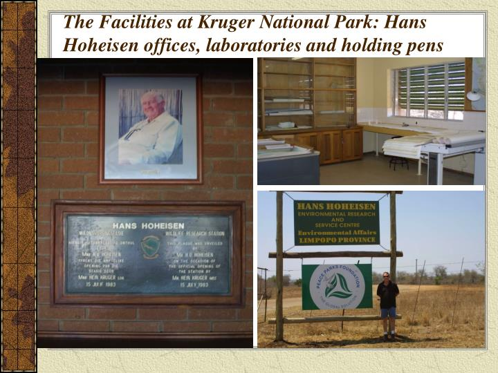 The Facilities at Kruger National Park: Hans Hoheisen offices, laboratories and holding pens