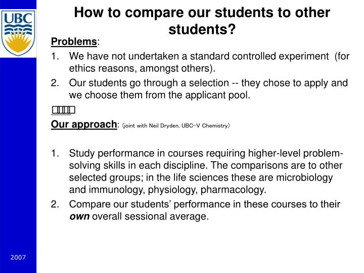 How to compare our students to other students?