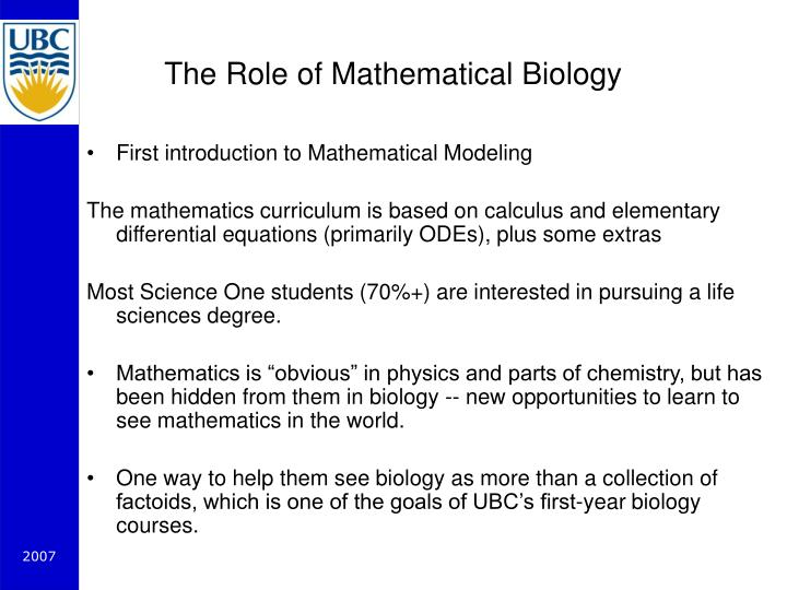 The Role of Mathematical Biology