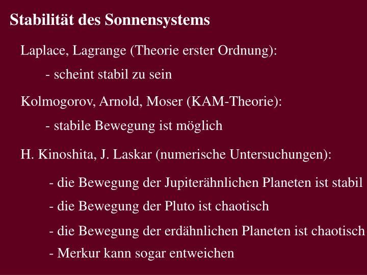 Stabilität des Sonnensystems