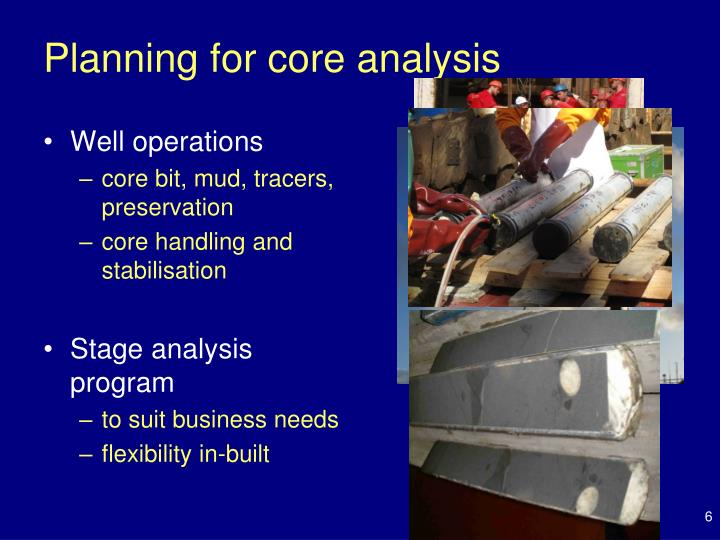 Planning for core analysis