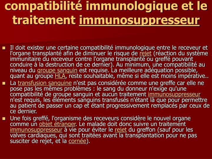 compatibilité immunologique et le traitement