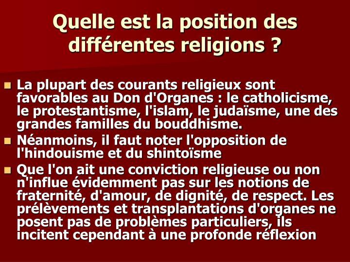 Quelle est la position des différentes religions ?