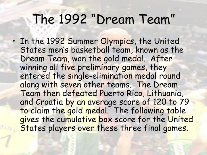 The 1992 dream team