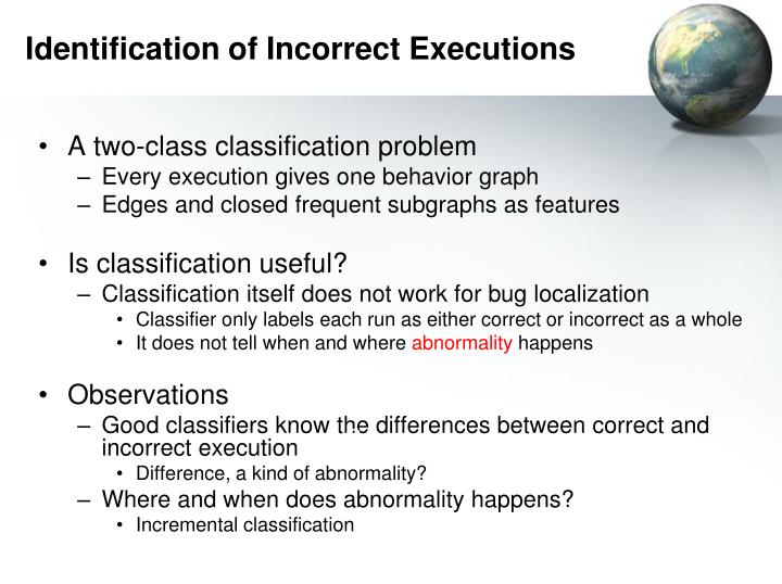Identification of Incorrect Executions