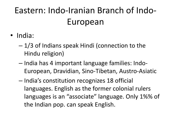 Eastern: Indo-Iranian Branch of Indo-European