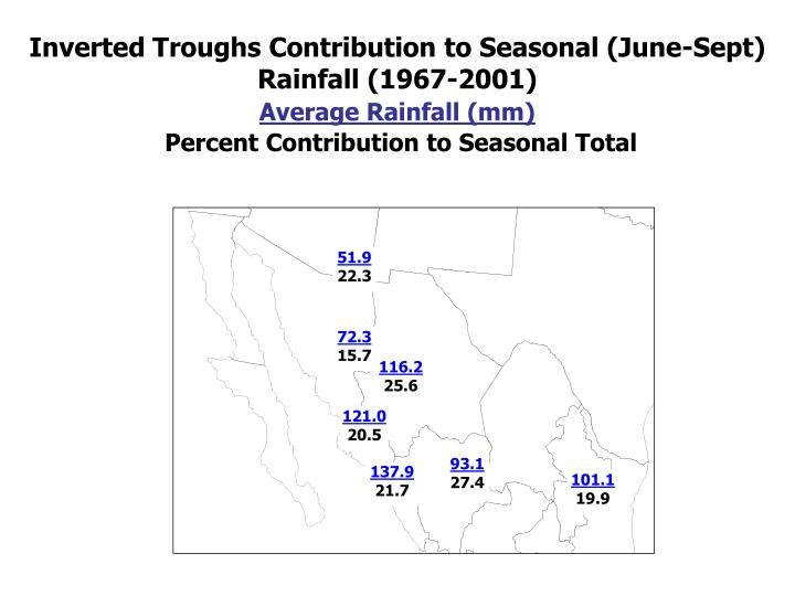 Inverted Troughs Contribution to Seasonal (June-Sept) Rainfall (1967-2001)