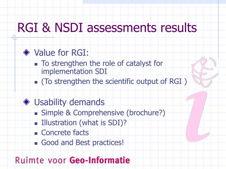 RGI & NSDI assessments results