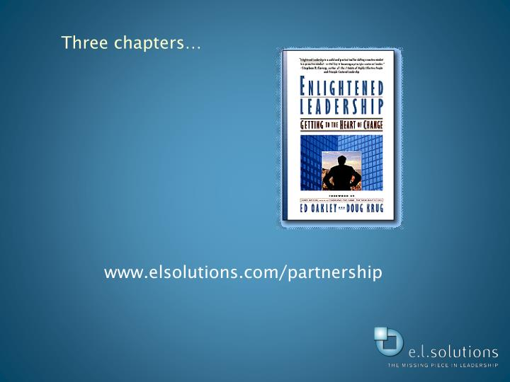 Three chapters…